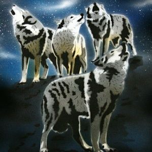 WOLF PACK Airbrushed T-shirt Custom Made to Order